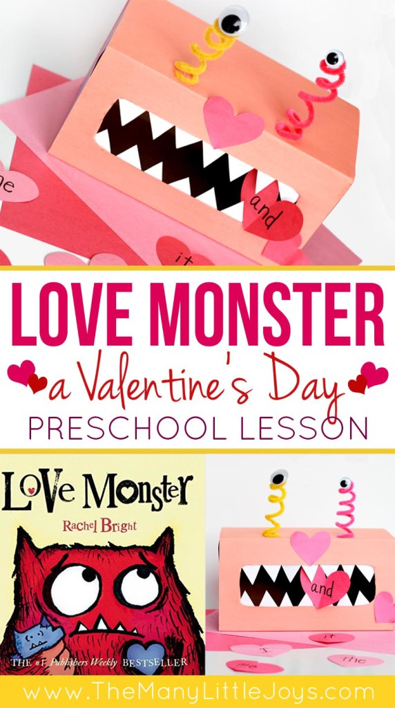 love monster a preschool literacy valentines activity the many little joys