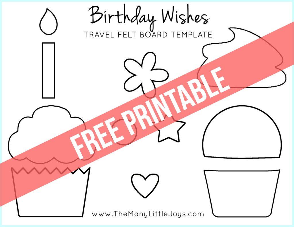 "Travel Felt Board: ""Birthday Wishes"" cupcake play set ..."